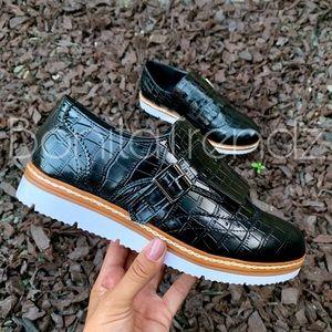 Black Croc Skin Fringe Oxford Style Sneakers